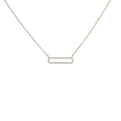 PAVE OPEN BAR DAINTY NECKLACE