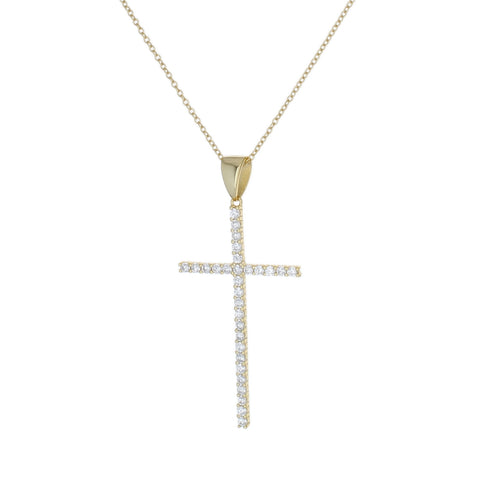 LARGE CZ CROSS NECKLACE