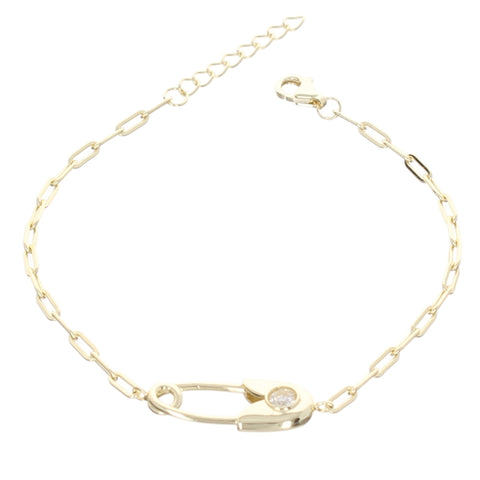 POLISH SAFETY PIN LINK BRACELET
