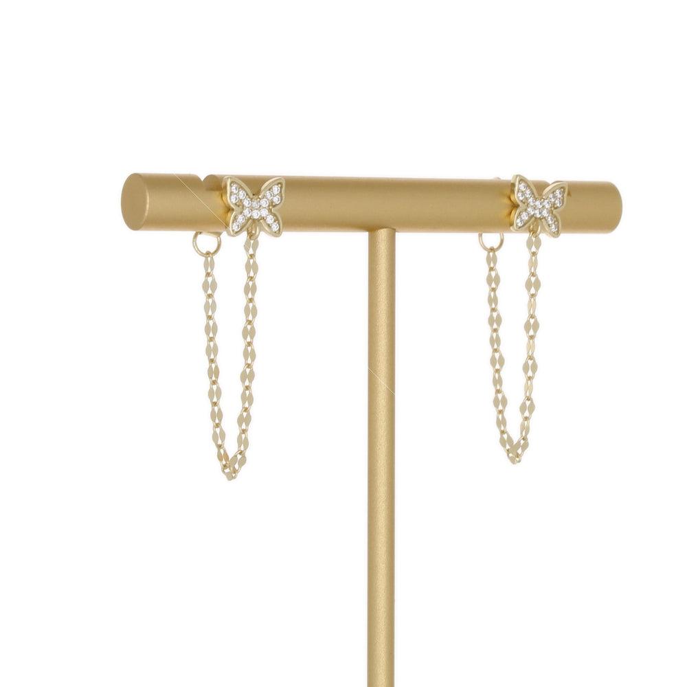 PAVE BUTTERFLY DIAMOND CUT CHAIN EARRING