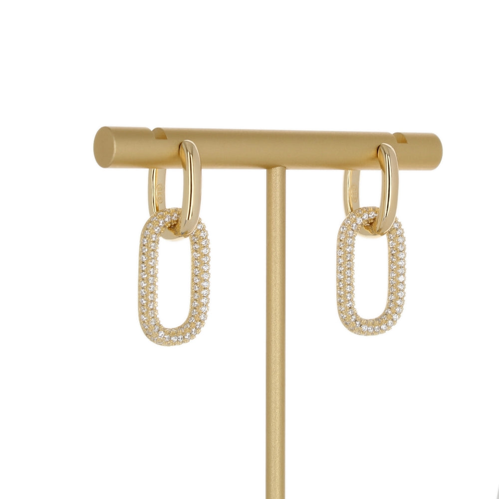 PLAIN & PAVE LINK EARRINGS