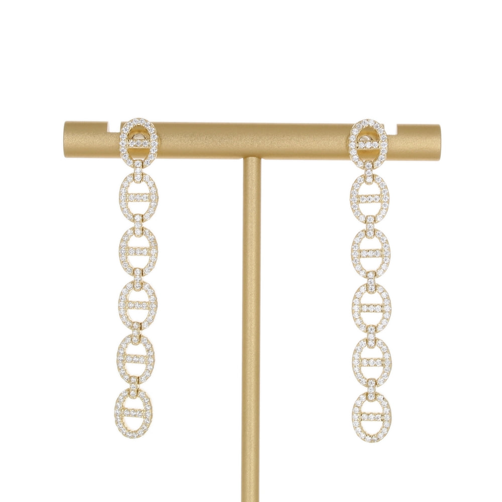 PAVE ANCHOR LINK LONG EARRING