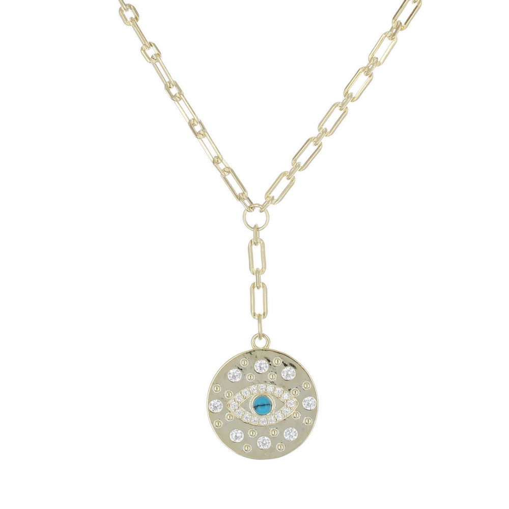 CHAIN NECKLACE WITH DROP EYE MEDALLION