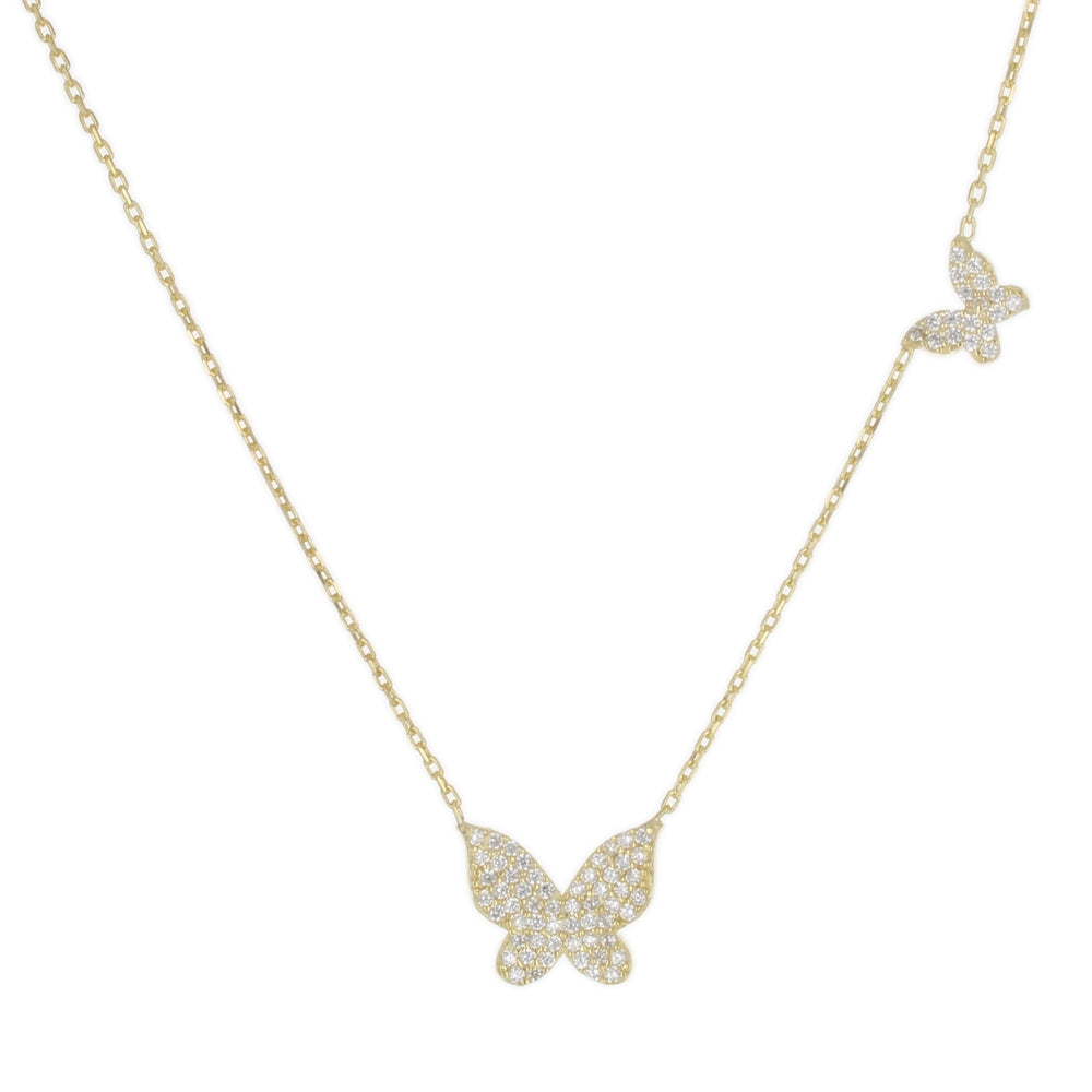 PAVE DOUBLE BUTTERFLY NECKLACE