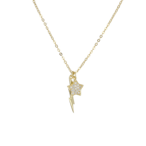 PAVE STAR & POLISH BOLT CHARM NECKLACE