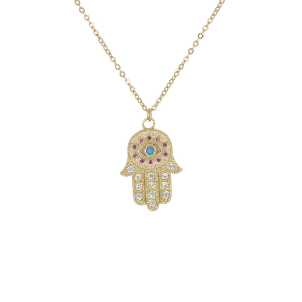 MATTED HAMSA WITH EYE PENDANT NECKLACE