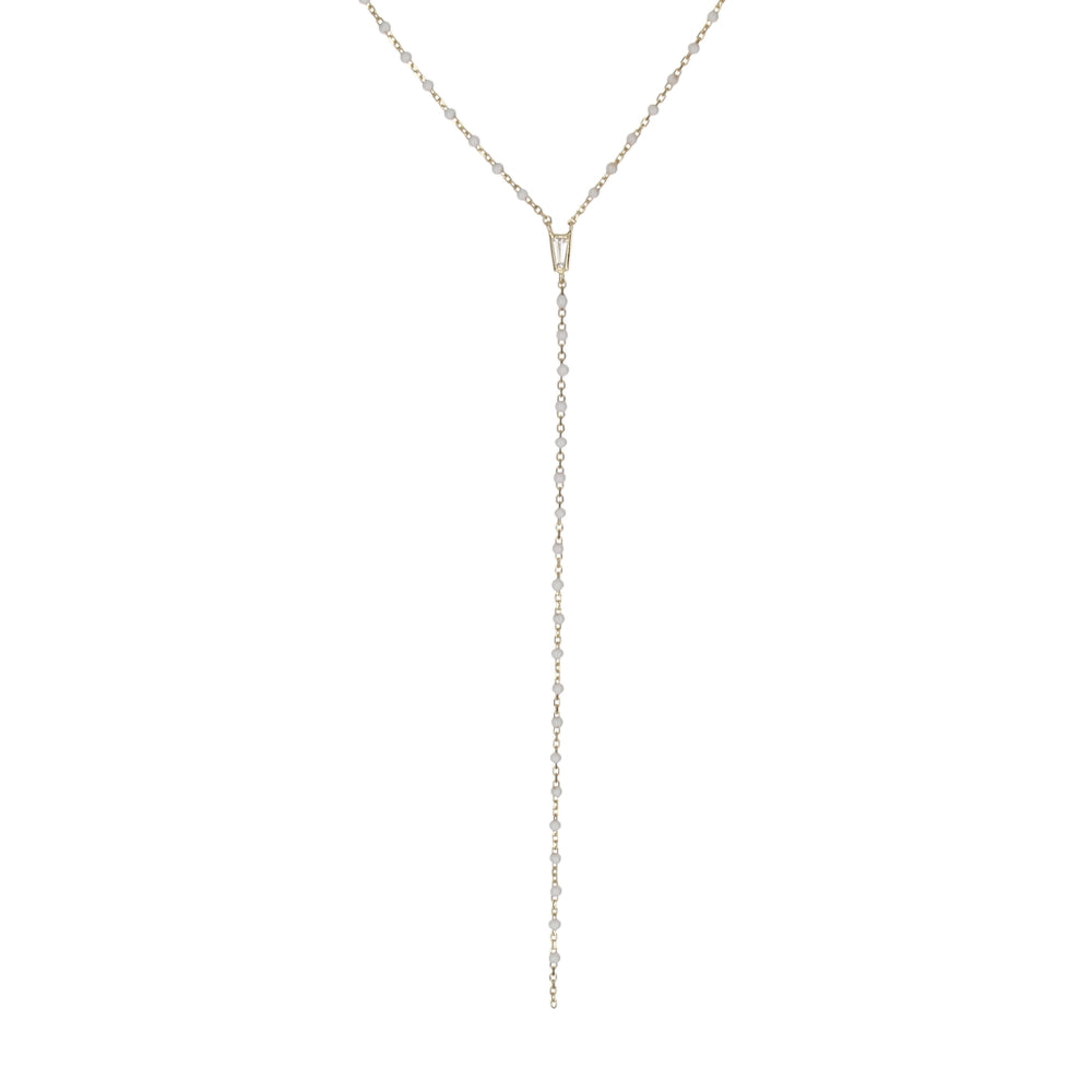 TINY ENAMEL BEADS LARIAT NECKLACE