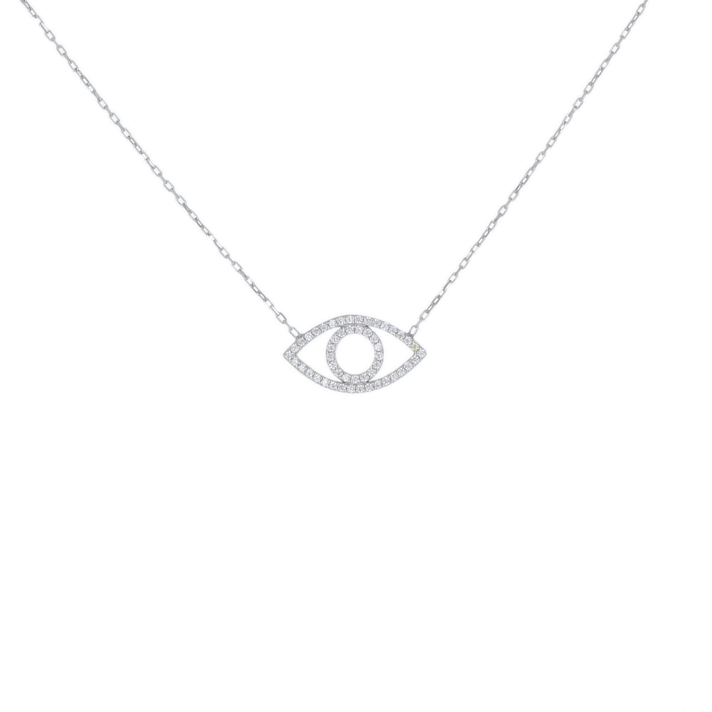 PAVE OPEN EVIL EYE NECKLACE