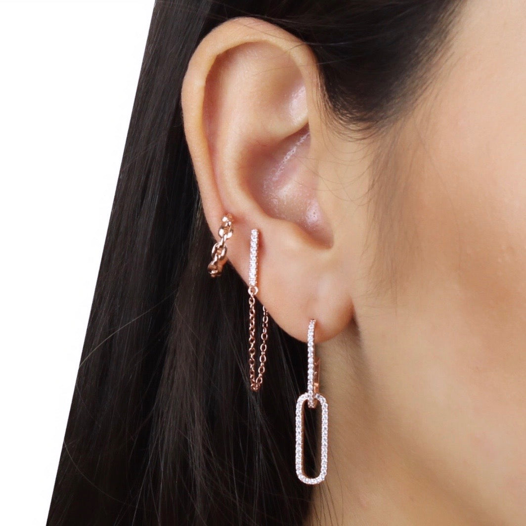 BAR STUD CHAIN EARRING