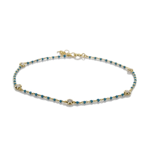 TINY ENAMEL BEADED ANKLET