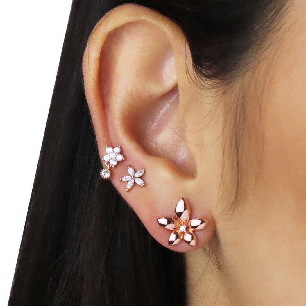 ROSE STUD WITH DANGLING CZ