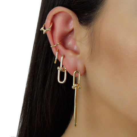 DOTTED LONG LINK EARRINGS