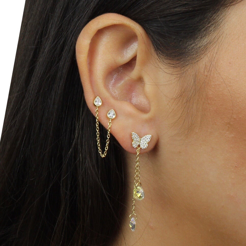 BEZEL CZ CHAIN DOUBLE STUD EARRING