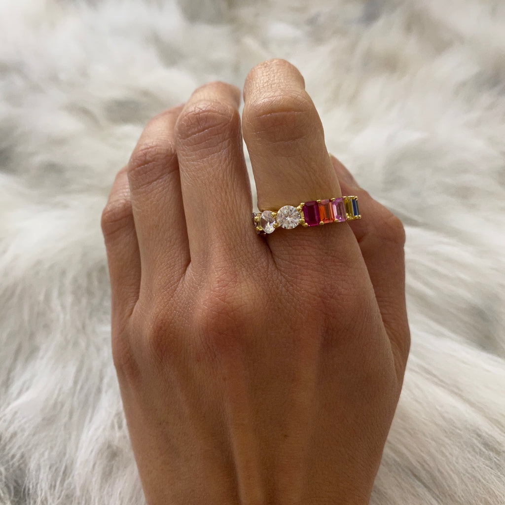 RAINBOW BAGUETTE AND ROUND CZ RING