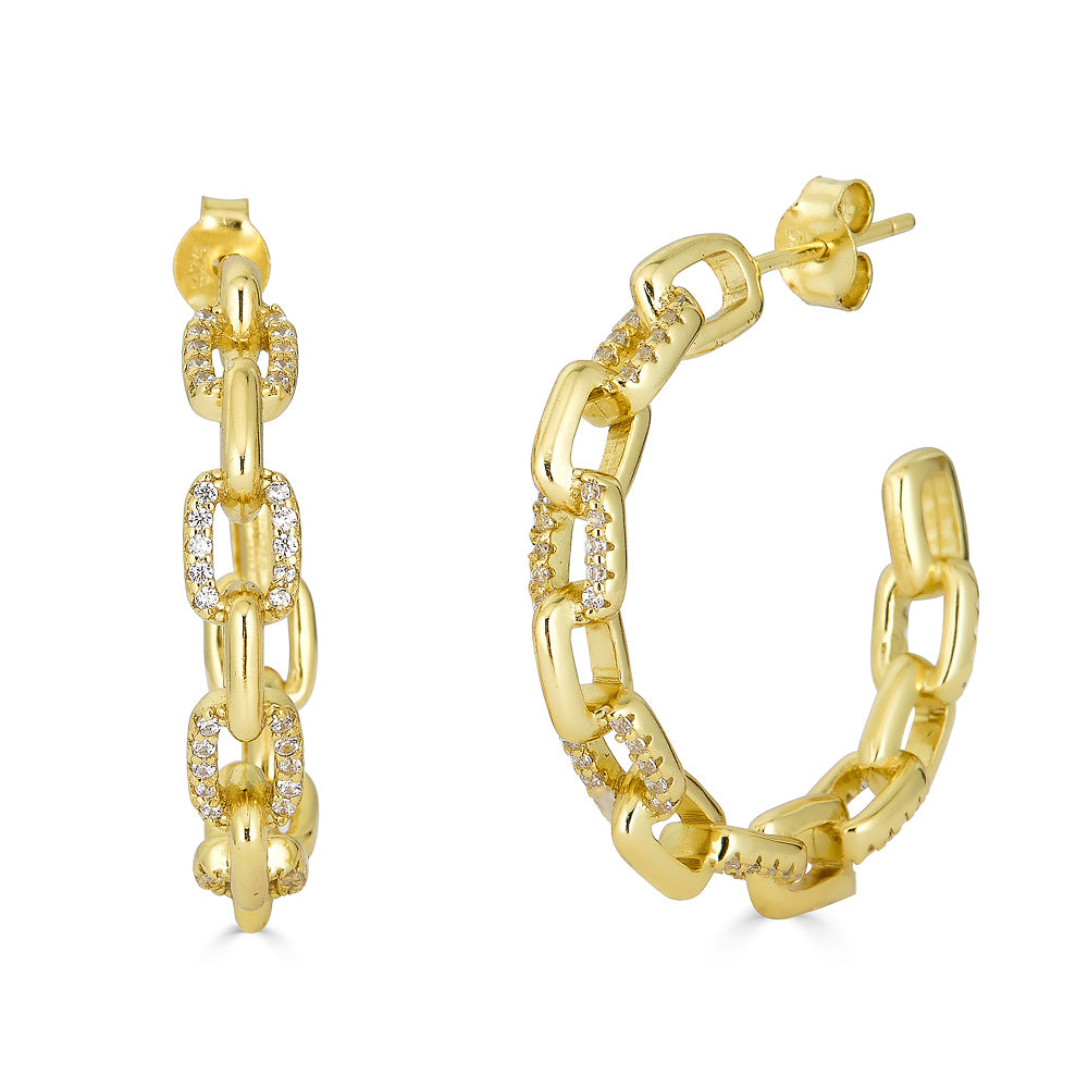 TIFFANY MIX LINKS HOOP EARRING