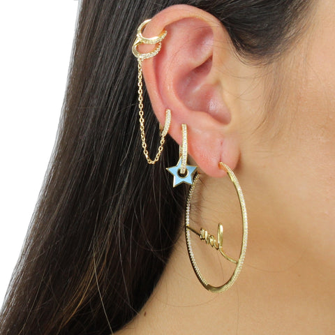DOUBLE PAVE HUGGIE CHAIN EARRING