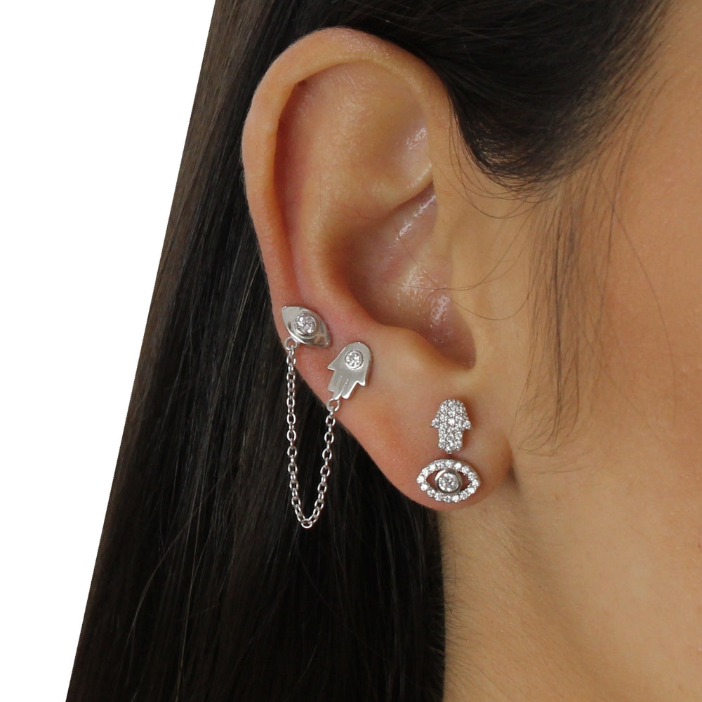 EYE HAMSA CHAIN DOUBLE STUD EARRING