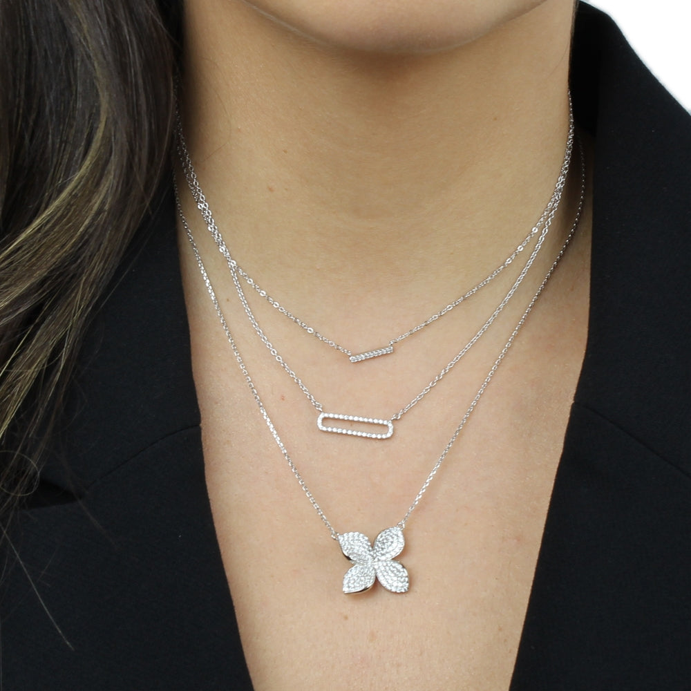 CZ OPEN BAR DAINTY NECKLACE