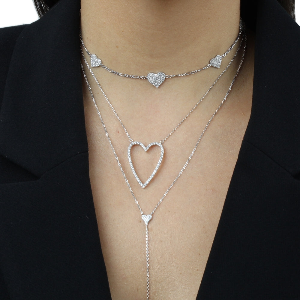PAVE OPEN HEART DAINTY CHAIN NECKLACE
