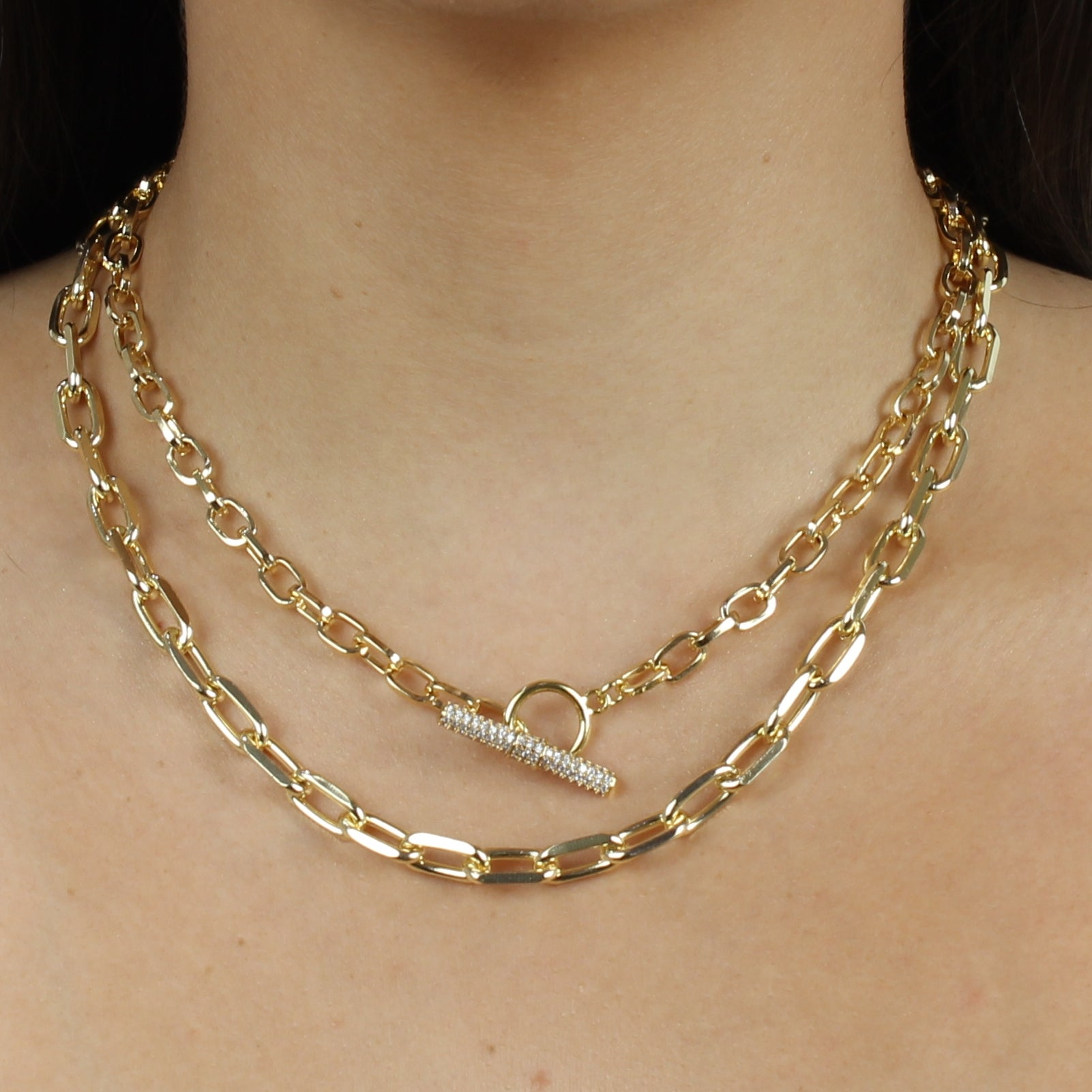 TOGGLE LOCK CHAIN CHOKER NECKLACE