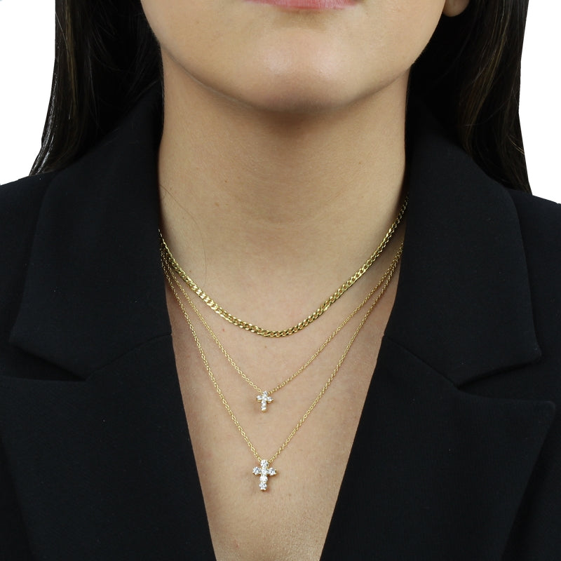 SMALL CHUNKY CZ CROSS NECKLACE