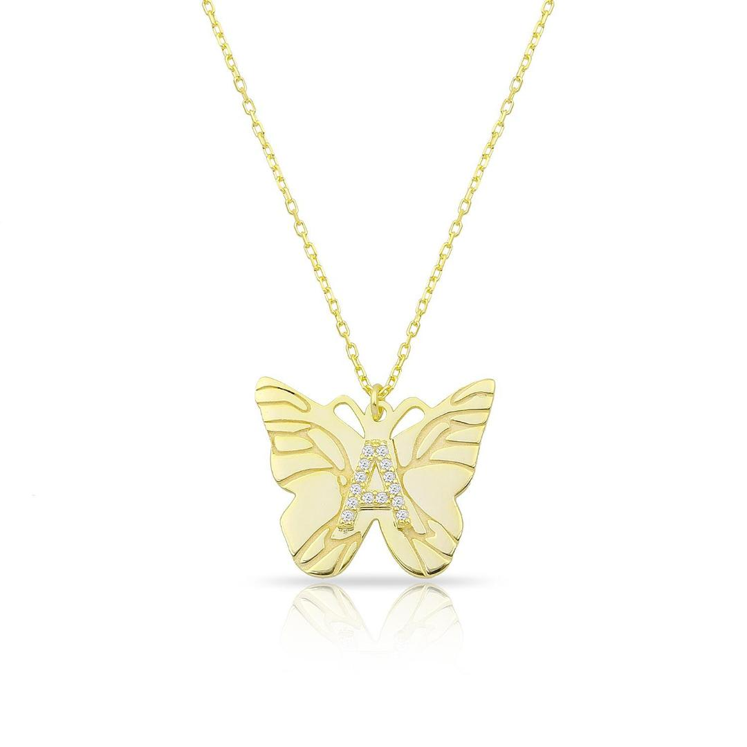 CUSTOM BUTTERFLY INITIAL NECKLACE