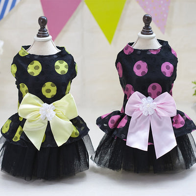 Yellow and Rose Polka Dot Dress - Pet Bargain Supplies