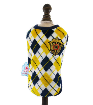 Fancy Flannel Vest with Crest - Pet Bargain Supplies