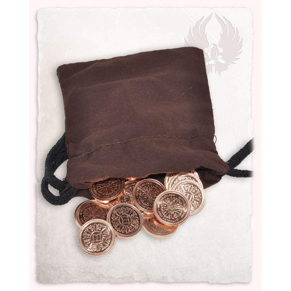 50 larp coins copper with fabric bag