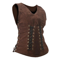 Sarina Leather Bodice (Medium, Brown)