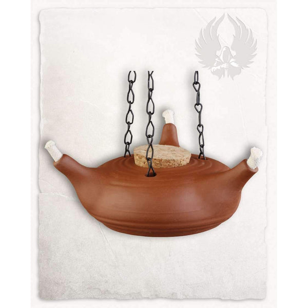 Oil lamp three arm nature with chain