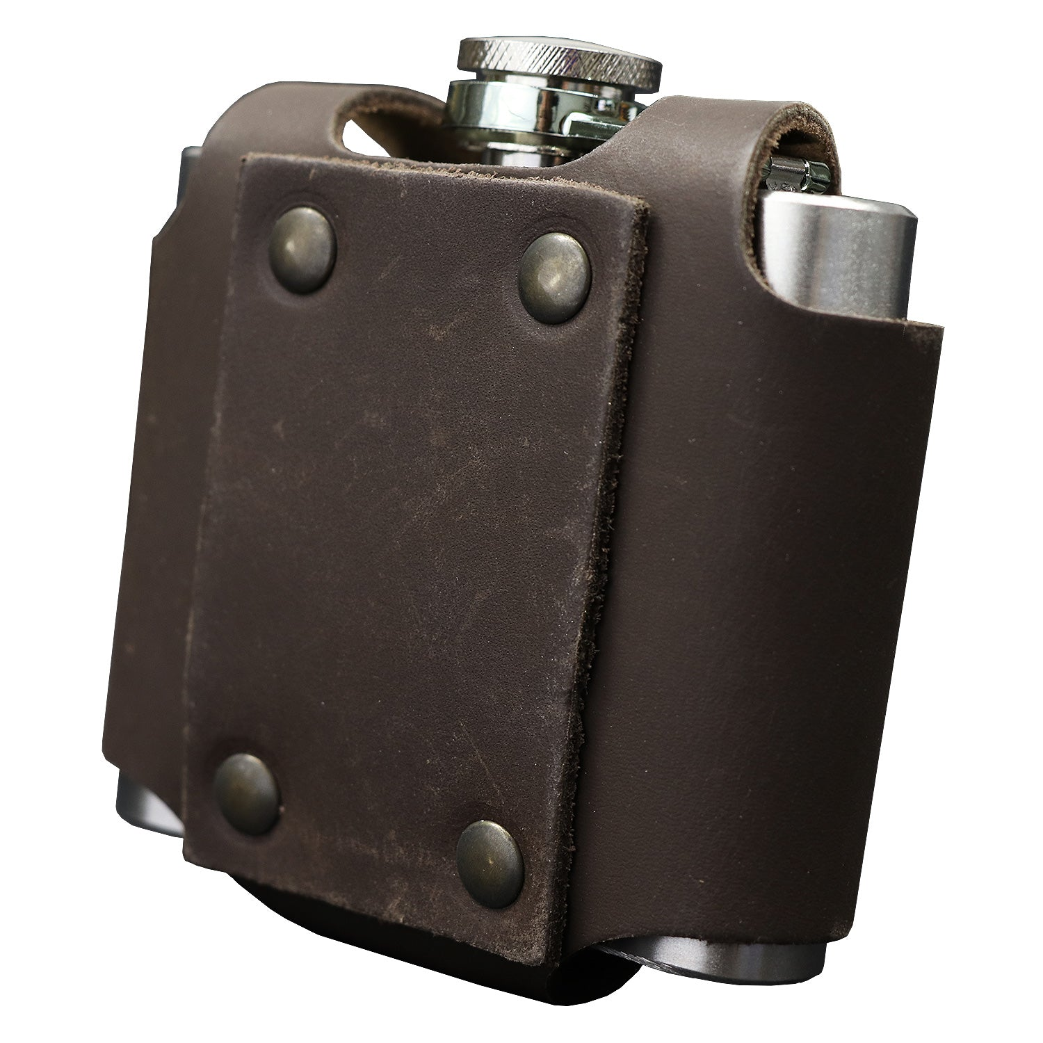 Flask with leather case