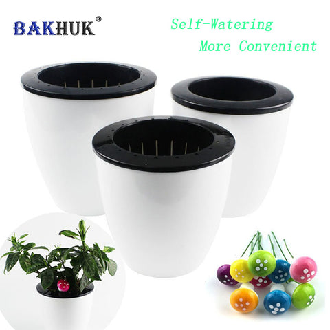 Image of 3Pcs Self Watering Flower Pot (Various Sizes) & 10Pcs Decorative Mushroom as Gift