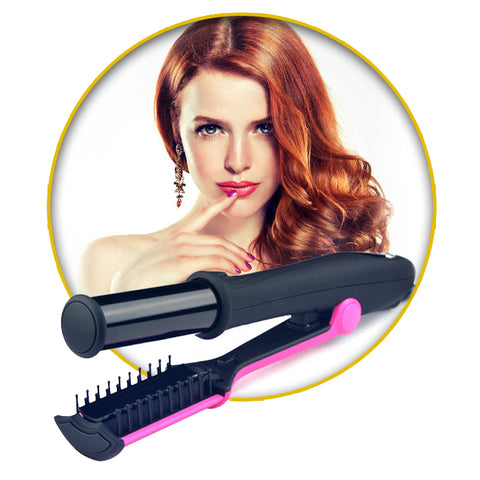 Image of Professional 2 in 1 Rotating Hair Straightening and Curling Iron
