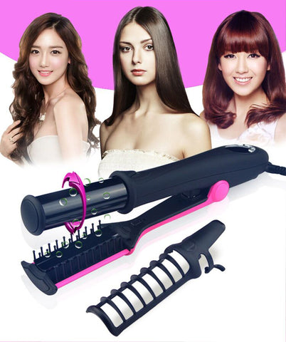 Professional 2 in 1 Rotating Hair Straightening and Curling Iron