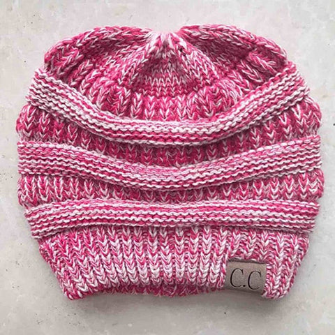 Chunky Knit Beanie Hat with pony tail pocket