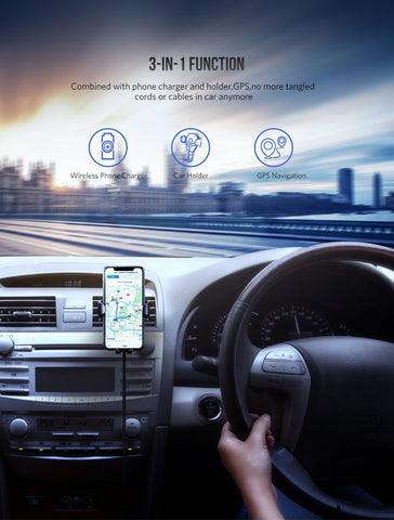 Fast Qi Wireless Car Phone Charger & Holder