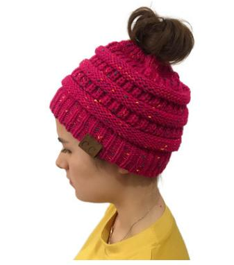 Image of Chunky Knit Beanie Hat with pony tail pocket