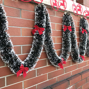 Luxury Tinsel Garland With Decorative Red Bows