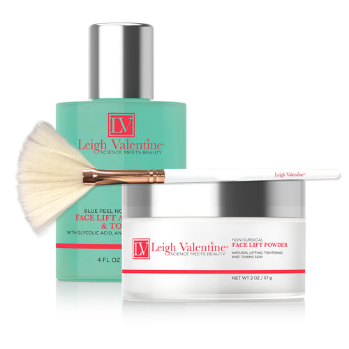 Duo Refill Mask for Non Surgical Face Lift - Powder and Activator  Includes Beauty Application Brush