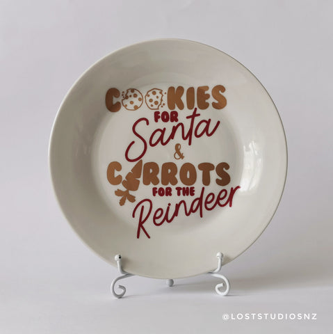 Cookies for Santa Plate | Gold & Red