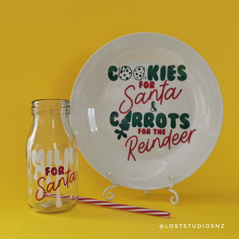 Santa's Cookie Plate & Milk Bottle Set