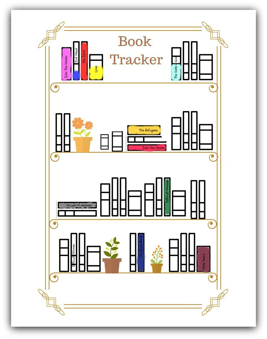 Books To Read List Planner and Tracker Worksheet - Printable Coloring Book Bullet Journal Tracker - 8/11 Digital Download