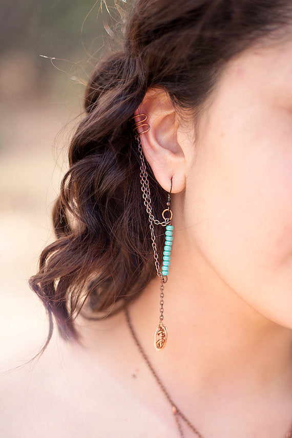 Wrapped Coil Beaded Ear Cuff- Copper/Turquoise