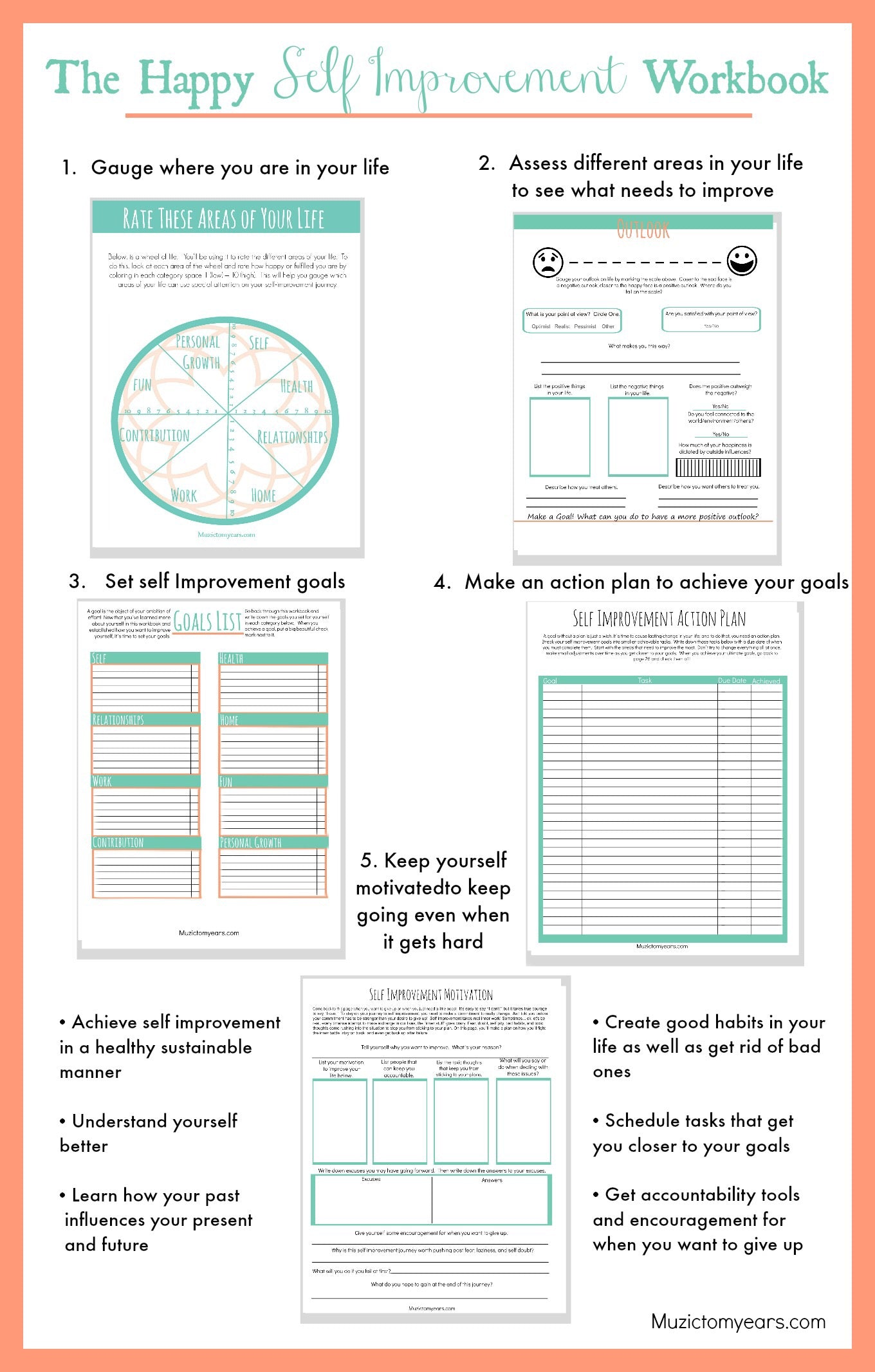 Worksheets Self Improvement Worksheets the happy self improvement workbook printable digital file muzic right carousel arrow