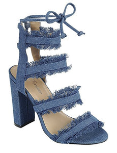 Women's Open Toe Frayed Denim Strappy Cage Chunky Heel Pumps Sandals  Style: Forest 47 Material: Denim Fabric Type: Women's Heel Fit: True to Size Color: Blue Denim  Sizes: 5, (2) 5.5, (2) 6, (2) 6.5, (3) 8.5   Thank You for being Our Loyal Customer