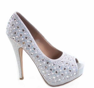 Women's Rhinestone Open Peep Toe Platform Stiletto High Heel Pump Bridal/ Evening Event Shoes.  Style: Sunset 68 Type: Women's Heel