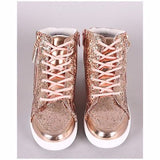 Women's Glitter Metallic Accent Athletic High Top Sneaker with Zipper.