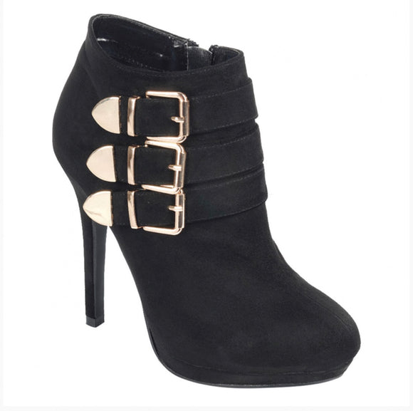 Women's Faux Suede Almond Toe Platform Ankle High Heel-black