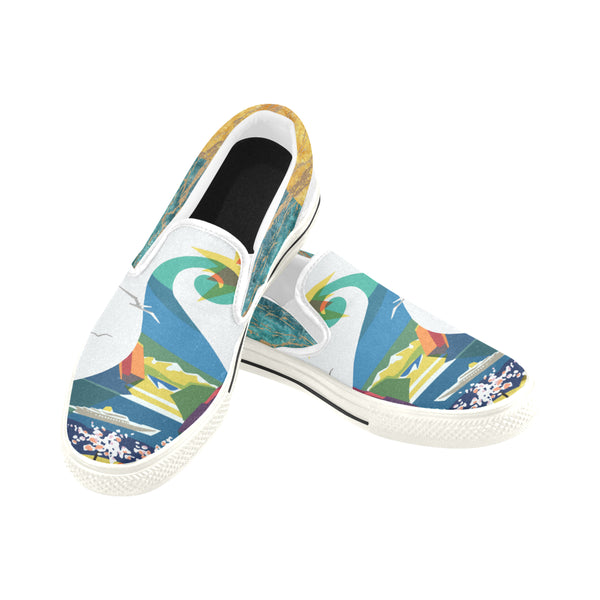 Swan Lake Canvas Slip-ons (Unisex), Slip-Ons- WhimzyTees